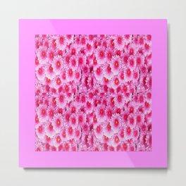 Fuchsia Pink Mums Garden Floral Pattern Metal Print