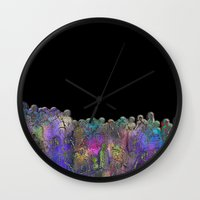 it crowd Wall Clocks featuring Crowd by dominiquelandau