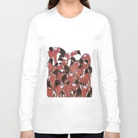 flamingos Long Sleeve T-shirts featuring Flamingos by Ollie Bright Art