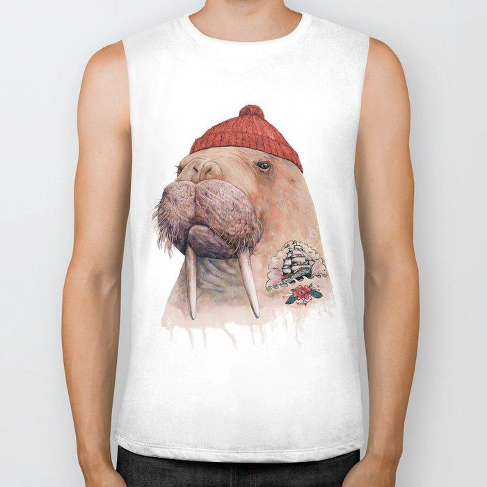 Tattooed walrus Biker Tank