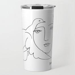 Pablo Picasso Peace (Dove and Face) T Shirt, Sketch Artwork Travel Mug