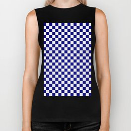 White and Navy Blue Checkerboard Biker Tank