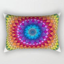 Rainbow Psychedelic Dharma Dahlia Mandala Colored Pencil Illustration by Imaginarium Creative Studio Rectangular Pillow