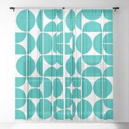 Mid Century Modern Geometric 04 Turquoise Sheer Curtain