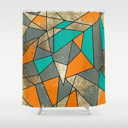 Modern Rustic Orange Teal and Gray Gold Geometric Shower Curtain