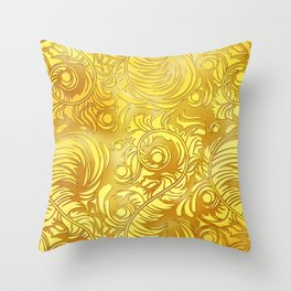 Gold Floral Pattern Throw Pillow