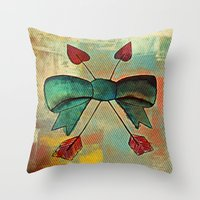 bow Throw Pillows featuring Bow by Kerri Swayze