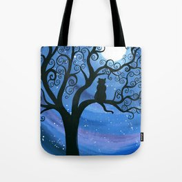 Meowing at the moon - moonlight cat painting Tote Bag