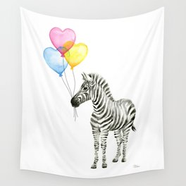 Zebra Watercolor With Heart Shaped Balloons Wall Tapestry