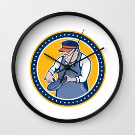 Shoemaker Cobbler Circle Cartoon Wall Clock