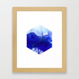 Blue and White Hexagon Abstract Watercolor Framed Art Print