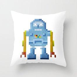 Blue pixel robot #1 Throw Pillow