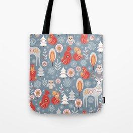 Fairy forest, deer, owls, foxes. Decorative pattern in Scandinavian style. Folk art. Tote Bag