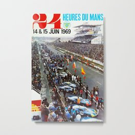 1969 Le Mans poster, Race poster, Car poster, vintage poster Metal Print