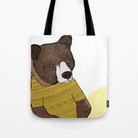 nike Tote Bags featuring Bear in Nike by Diana Hope