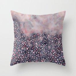 Watercolor abstract indigo shibori denim  Throw Pillow