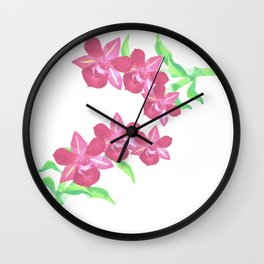 Pink orchids watercolor painting Wall Clock