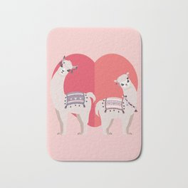 Llama and Alpaca with love Bath Mat