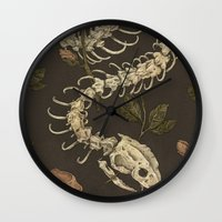 skeleton Wall Clocks featuring Snake Skeleton by Jessica Roux