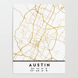 AUSTIN TEXAS CITY STREET MAP ART Poster