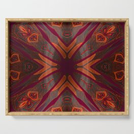 Deep Mahogany Ombre Neo Tribal Embroidery Texture Serving Tray
