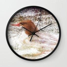 Merganser Fishing in the Rain Wall Clock