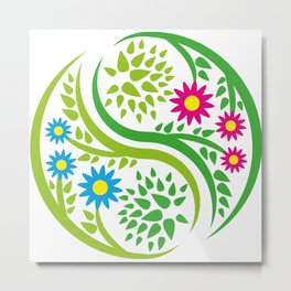 Yin Yang Flower Metal Print