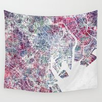 tokyo Wall Tapestries featuring TOKYO by MapMapMaps.Watercolors