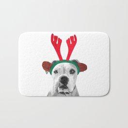 Black and White Boxer Christmas Bath Mat