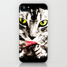 cat kitty licks licking paws perfectly iPhone Case