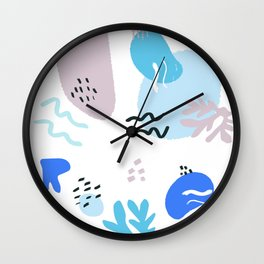 Blue Grey Memphis Style Forms Wall Clock