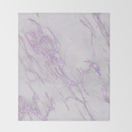 Marble Love Purple Metallic Throw Blanket