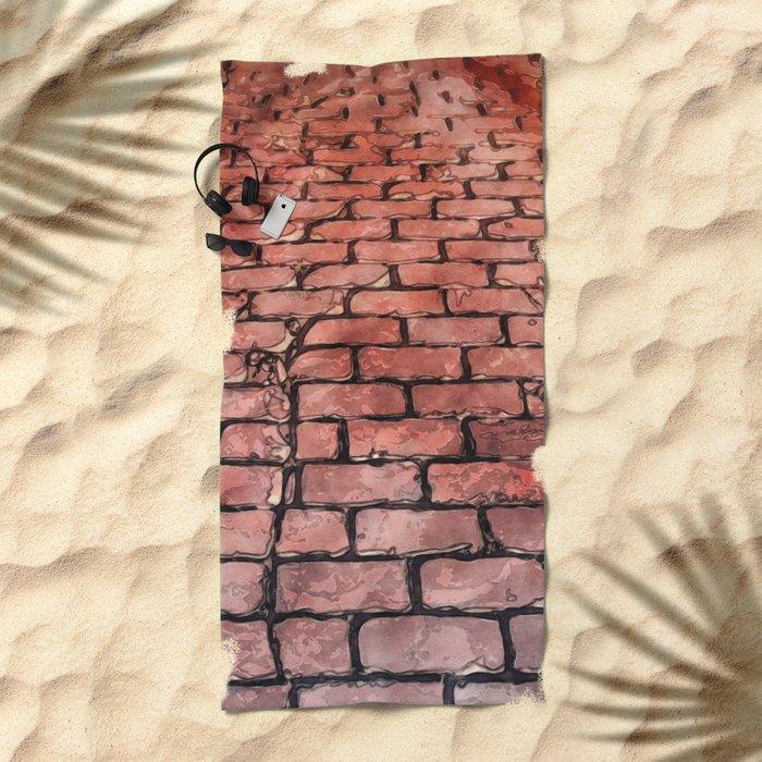 Vintage Brick Street Beach Towel