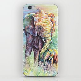 Colorful Mother Elephant and Baby iPhone Skin