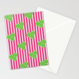 Lime Slices on Hot Pink and White Stripes Stationery Cards