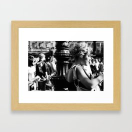 Girl with camera in Amsterdam Framed Art Print