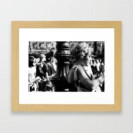 Girl with camera in Amsterdam Framed Art Print