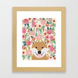Shiba Inu florals spring summer bright girly hipster dog meme shiba ink puppy pet portraits Framed Art Print