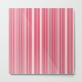 Nantucket Red and White Shades Pinstripe Metal Print
