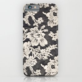 black and white lace- Photograph of vintage lace iPhone Case