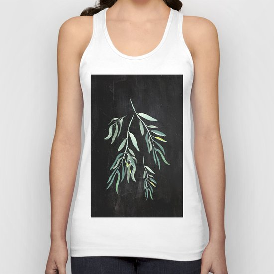 Eucalyptus Branches On Chalkboard II Unisex Tank Top