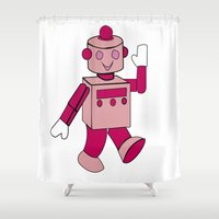 robot Shower Curtains featuring Robot by PriegoR