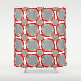 Red Organic Rings Shower Curtain