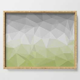 light green and grey polygon Serving Tray