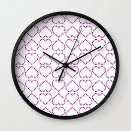 Romantic pink lilac glitter valentine hearts pattern Wall Clock