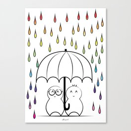 Mimos under Rainbow rain Canvas Print