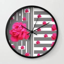 MODERN ABSTRACT PINK ROSES  GREY-WHITE ART Wall Clock