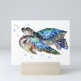 Sea Turtle, Green Blue, sea turtle under water, sky blue Mini Art Print