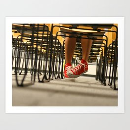Red Chucks and Chairs Art Print