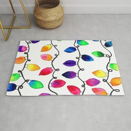 Colorful Christmas Holiday Light Bulbs Rug
